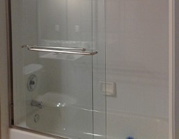 Close- Up of Glass Shower Door